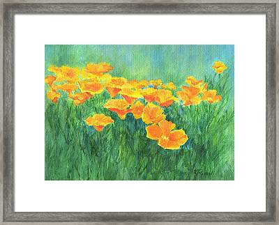 California Golden Poppies Field Bright Colorful Landscape Painting Flowers Floral K. Joann Russell Framed Print