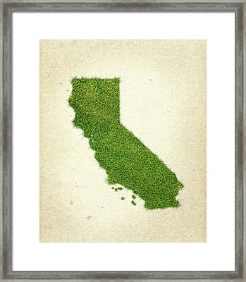 California Grass Map Framed Print by Aged Pixel