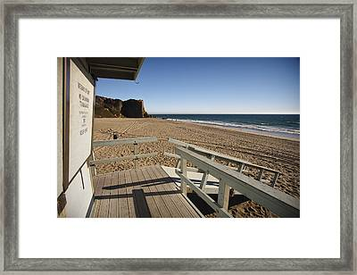 California Lifeguard Shack At Zuma Beach Framed Print by Adam Romanowicz