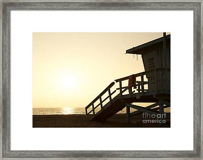 California Lifeguard Station At Sunset Framed Print