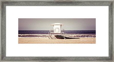 California Lifeguard Tower Retro Panoramic Picture Framed Print by Paul Velgos