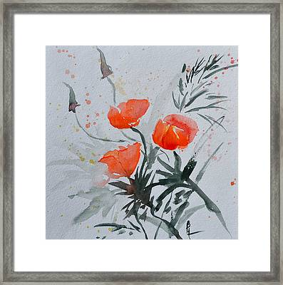 California Poppies Sumi-e Framed Print
