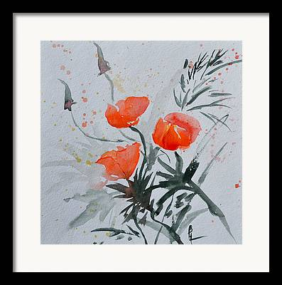 California Poppies Sumi-e Framed Prints