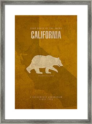 California State Facts Minimalist Movie Poster Art  Framed Print by Design Turnpike
