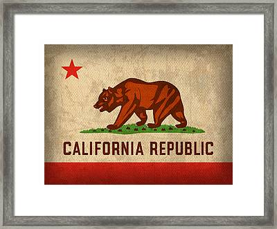 California State Flag Art On Worn Canvas Framed Print by Design Turnpike