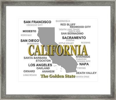 California State Pride Map Silhouette  Framed Print by Keith Webber Jr