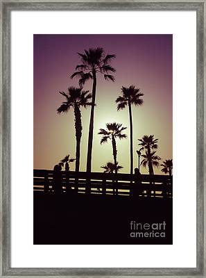 California Sunset Picture With Palm Trees Framed Print by Paul Velgos