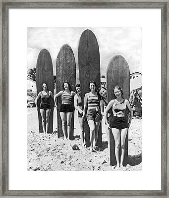 California Surfer Girls Framed Print by Underwood Archives