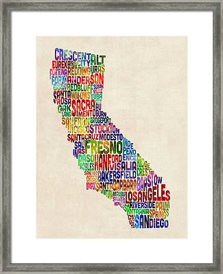 California Typography Text Map Framed Print by Michael Tompsett
