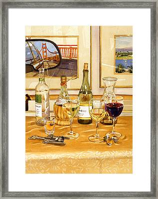 California Wine And Watercolors Framed Print by Mary Helmreich
