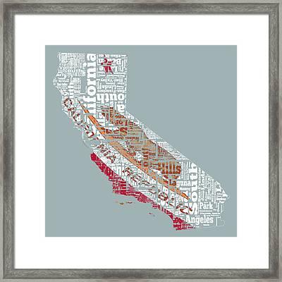 California Word Cloud 2a Framed Print
