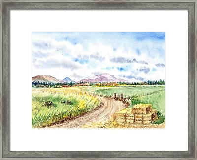 Californian Landscape Saint Johns Ranch Of Mountain Shasta County Framed Print by Irina Sztukowski