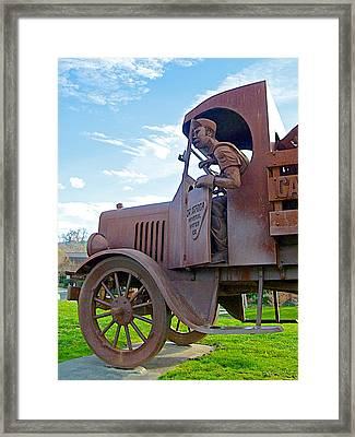 Calistoga Natural Beverages Truck Sculpture In Napa Valley's Calistoga-ca  Framed Print by Ruth Hager