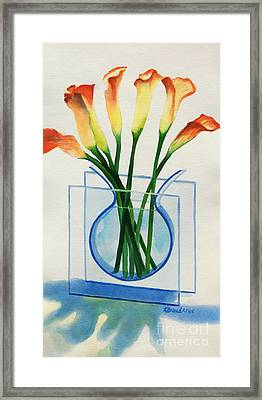 Framed Print featuring the painting Calla Lilies by Kathy Braud