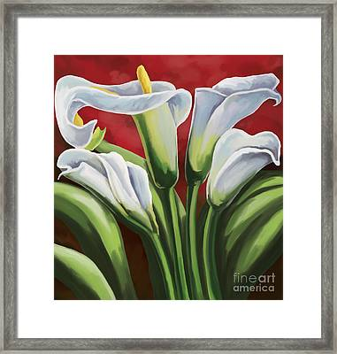 Framed Print featuring the painting Calla Lilies  by Tim Gilliland