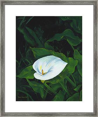Calla Lily In The Garden Of Diego And Frida Framed Print by Judy Swerlick