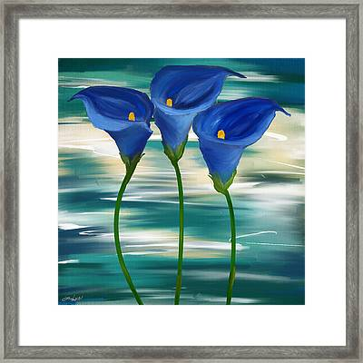 Calla Trio- Calla Lily Paintings Framed Print by Lourry Legarde