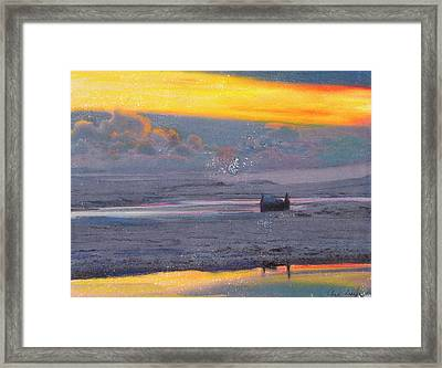 Framed Print featuring the mixed media Callanish Croft by Carla Woody