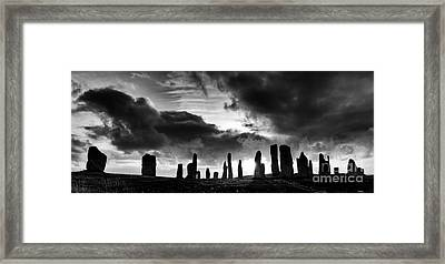 Callanish Standing Stones Monochrome Framed Print by Tim Gainey