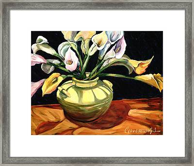 Callas - Floral Art By Betty Cummings Framed Print by Sharon Cummings