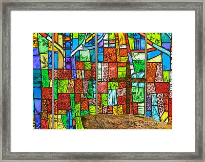 Callaway Gardens Chapel Alter Stone And Stained Glass Window Framed Print by John Roberts