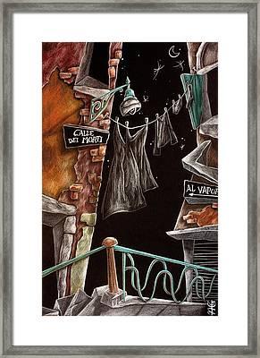Calle Dei Morti - L'arte Di Venezia  Framed Print by Arte Venezia