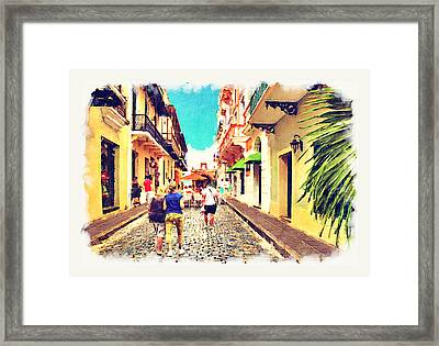 Calle Del Cristo Street San Juan Puerto Rico Framed Print by Yiries Saad