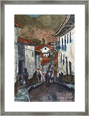 Calle Triunfo In Cusco Peru Framed Print