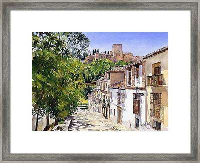 Calle Victoria Granada Framed Print by Margaret Merry