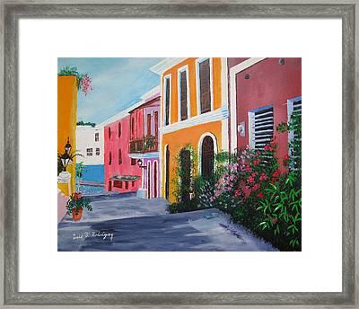 Callejon En El Viejo San Juan Framed Print by Luis F Rodriguez