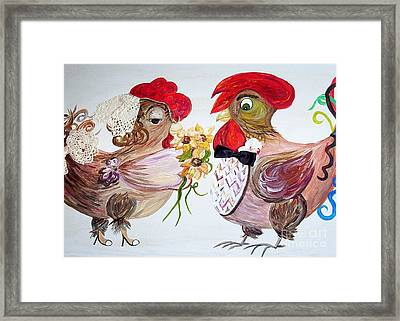 Framed Print featuring the painting Calling All Chicken Lovers Say I Do by Eloise Schneider