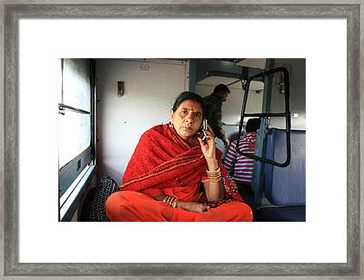 Calling From The Train Framed Print by Amanda Stadther