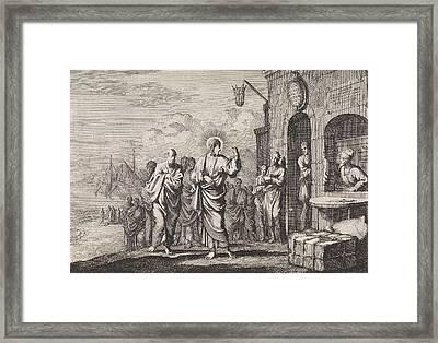 Calling Of Matthew, Jan Luyken, Pieter Mortier Framed Print by Jan Luyken And Pieter Mortier