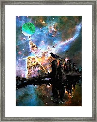 Calling The Night - Crow Art By Sharon Cummings Framed Print by Sharon Cummings