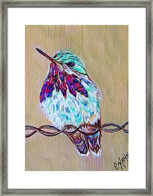 Framed Print featuring the painting Calliope On The Fence by Ella Kaye Dickey