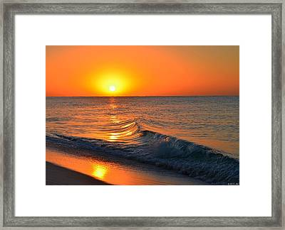 Calm And Clear Sunrise On Navarre Beach With Small Perfect Wave Framed Print