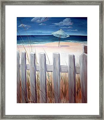 Framed Print featuring the painting Calm Day At The Seashore by Bernadette Krupa