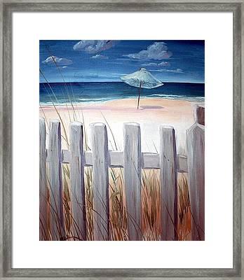 Calm Day At The Seashore Framed Print by Bernadette Krupa
