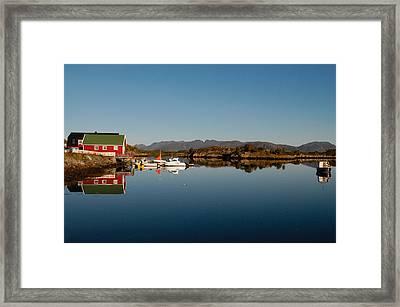 Calm Harbor In Norway Framed Print