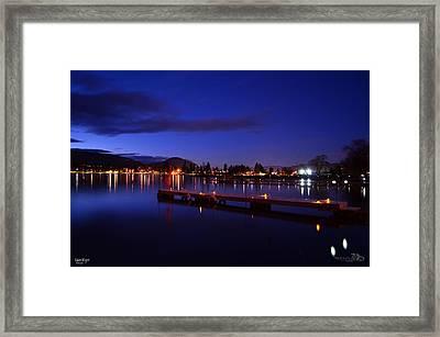 Calm Night - Skaha Lake 02-21-2014 Framed Print