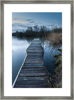 Calm Tranquil Moonlit Landscape Over Lake And Jetty Framed Print