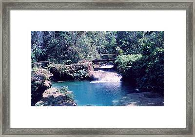 Calm Water Afther Small Waterfall Framed Print by Mario Perez