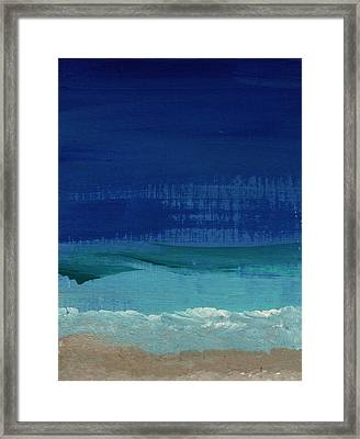Calm Waters- Abstract Landscape Painting Framed Print by Linda Woods