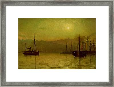 Calm Waters, Scarborough, 1880 Framed Print