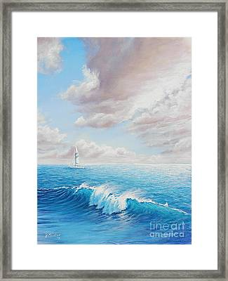 Calming Ocean Framed Print by Joe Mandrick