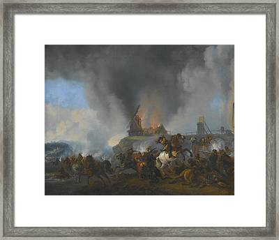 Calvary Skirmish On A River Bank  Framed Print by Celestial Images