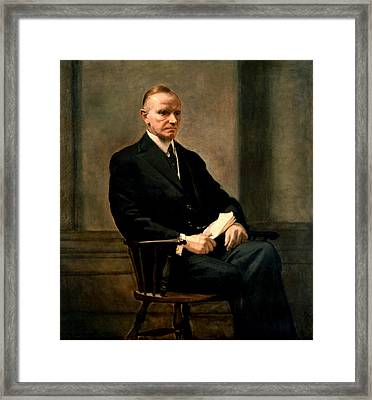 Calvin Coolidge Presidential Portrait Framed Print by MotionAge Designs