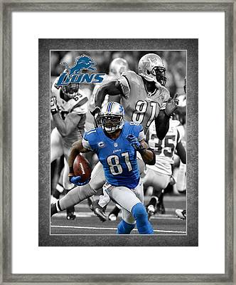 Calvin Johnson Lions Framed Print by Joe Hamilton
