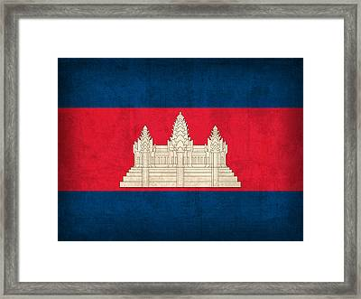 Cambodia Flag Vintage Distressed Finish Framed Print