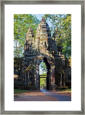 Cambodia North Gate, Angkor Thom Framed Print by Charles O. Cecil